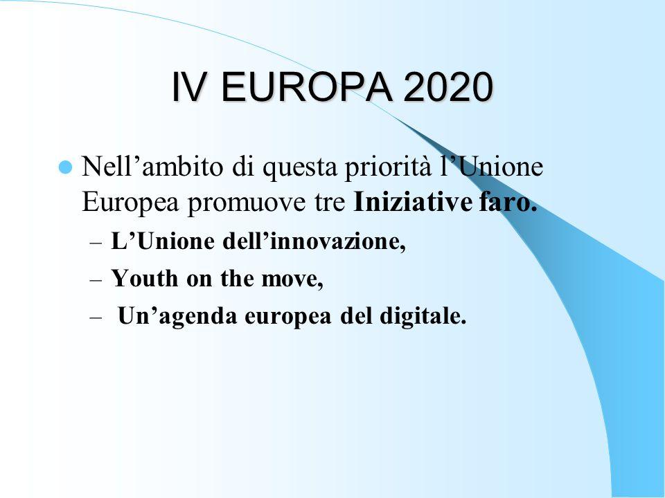 IV EUROPA 2020 Nellambito di questa priorità lUnione Europea promuove tre Iniziative faro. – LUnione dellinnovazione, – Youth on the move, – Unagenda