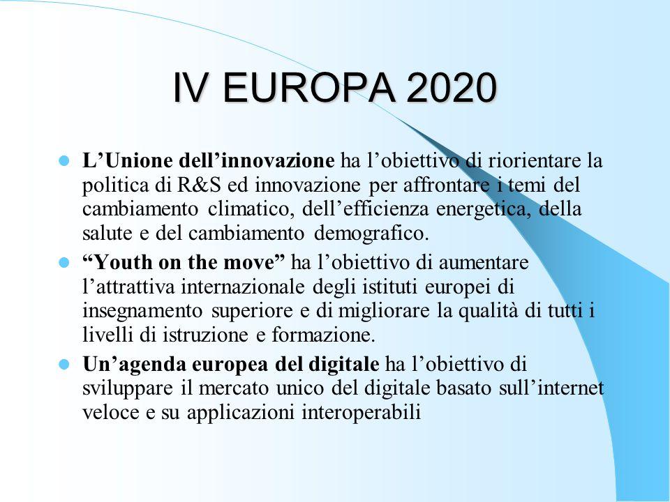 IV EUROPA 2020 LUnione dellinnovazione ha lobiettivo di riorientare la politica di R&S ed innovazione per affrontare i temi del cambiamento climatico,
