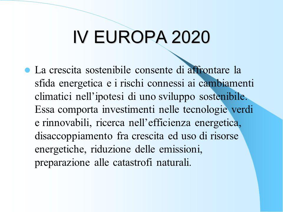IV EUROPA 2020 La crescita sostenibile consente di affrontare la sfida energetica e i rischi connessi ai cambiamenti climatici nellipotesi di uno svil