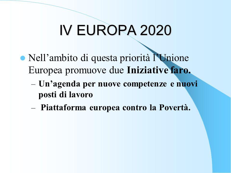 IV EUROPA 2020 Nellambito di questa priorità lUnione Europea promuove due Iniziative faro. – Unagenda per nuove competenze e nuovi posti di lavoro – P
