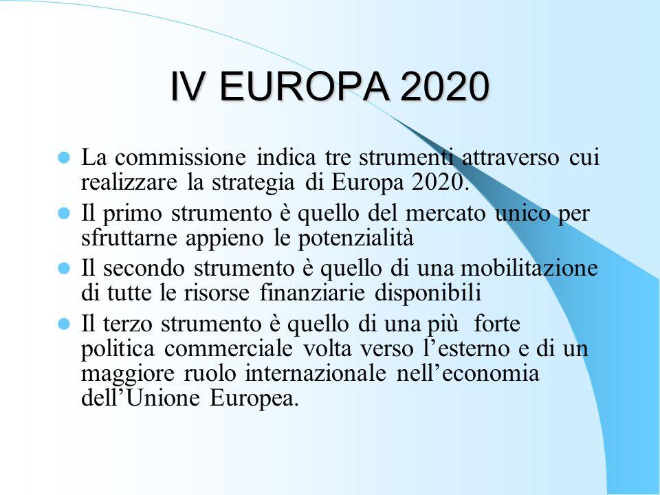 IV EUROPA 2020 La commissione indica tre strumenti attraverso cui realizzare la strategia di Europa 2020. Il primo strumento è quello del mercato unic