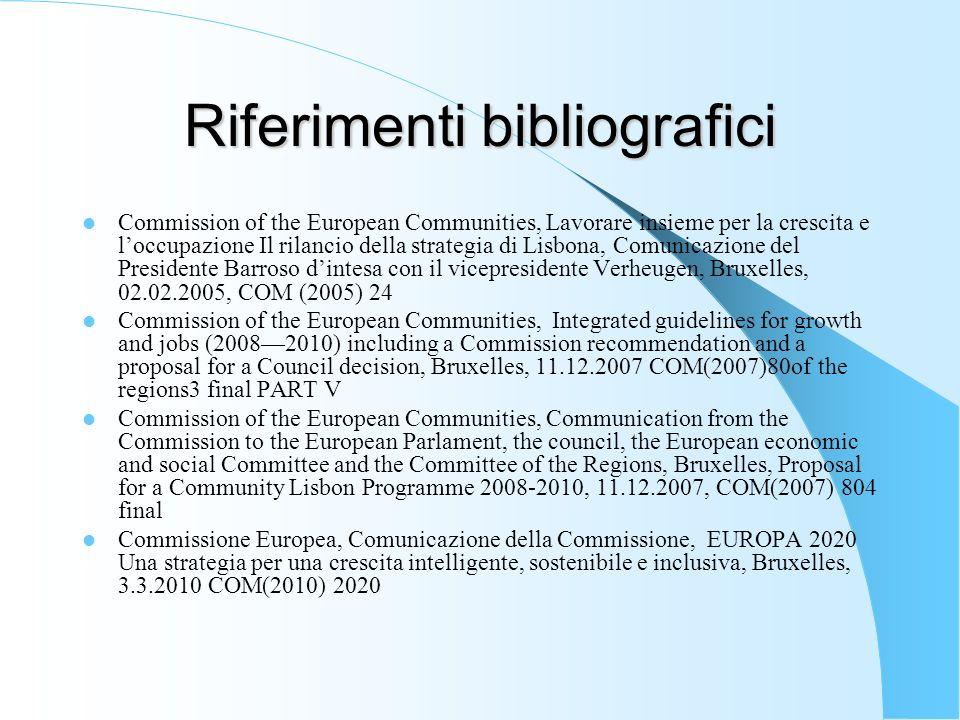Riferimenti bibliografici Commission of the European Communities, Lavorare insieme per la crescita e loccupazione Il rilancio della strategia di Lisbo