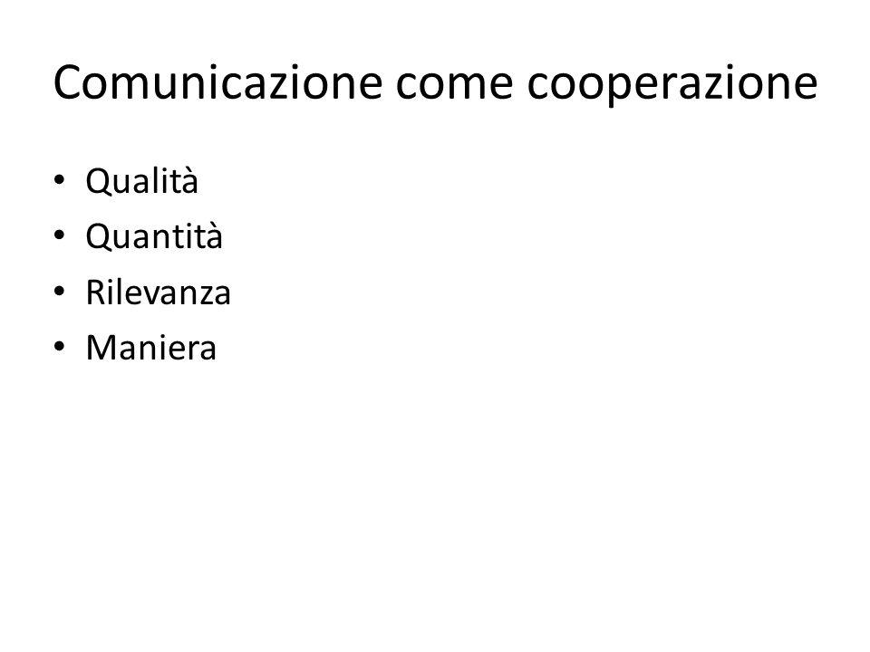 Comunicazione come cooperazione Qualità Quantità Rilevanza Maniera
