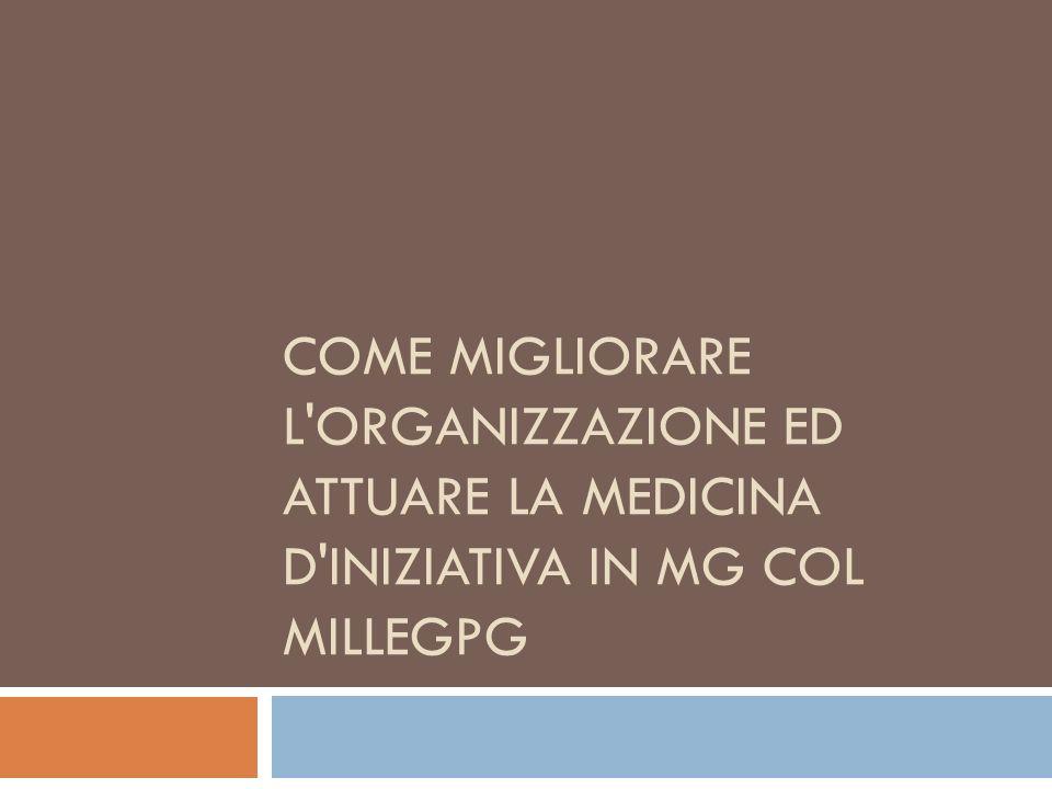 COME MIGLIORARE L'ORGANIZZAZIONE ED ATTUARE LA MEDICINA D'INIZIATIVA IN MG COL MILLEGPG