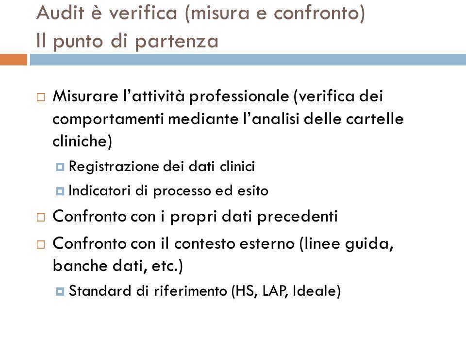 Audit è verifica (misura e confronto) Il punto di partenza Misurare lattività professionale (verifica dei comportamenti mediante lanalisi delle cartel