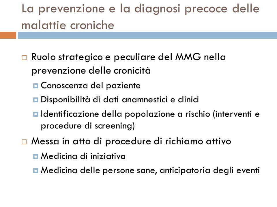 La prevenzione e la diagnosi precoce delle malattie croniche Ruolo strategico e peculiare del MMG nella prevenzione delle cronicità Conoscenza del paz