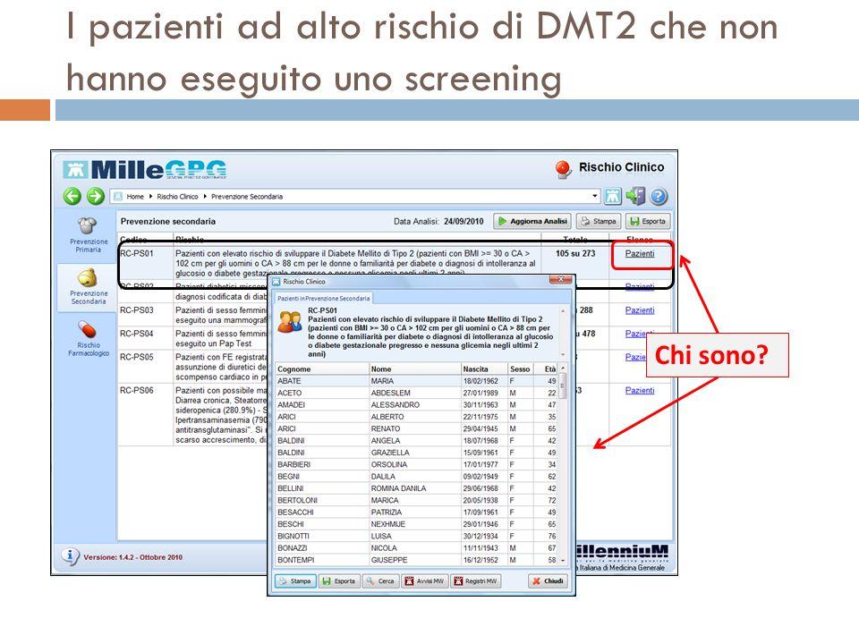I pazienti ad alto rischio di DMT2 che non hanno eseguito uno screening Chi sono?