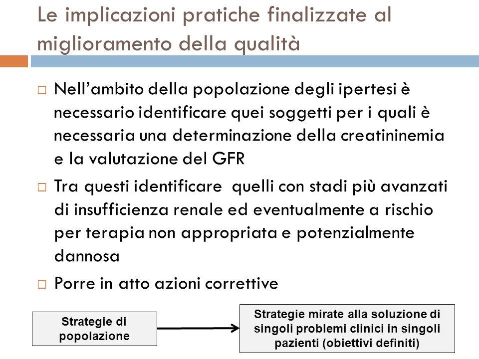 Le implicazioni pratiche finalizzate al miglioramento della qualità Nellambito della popolazione degli ipertesi è necessario identificare quei soggett
