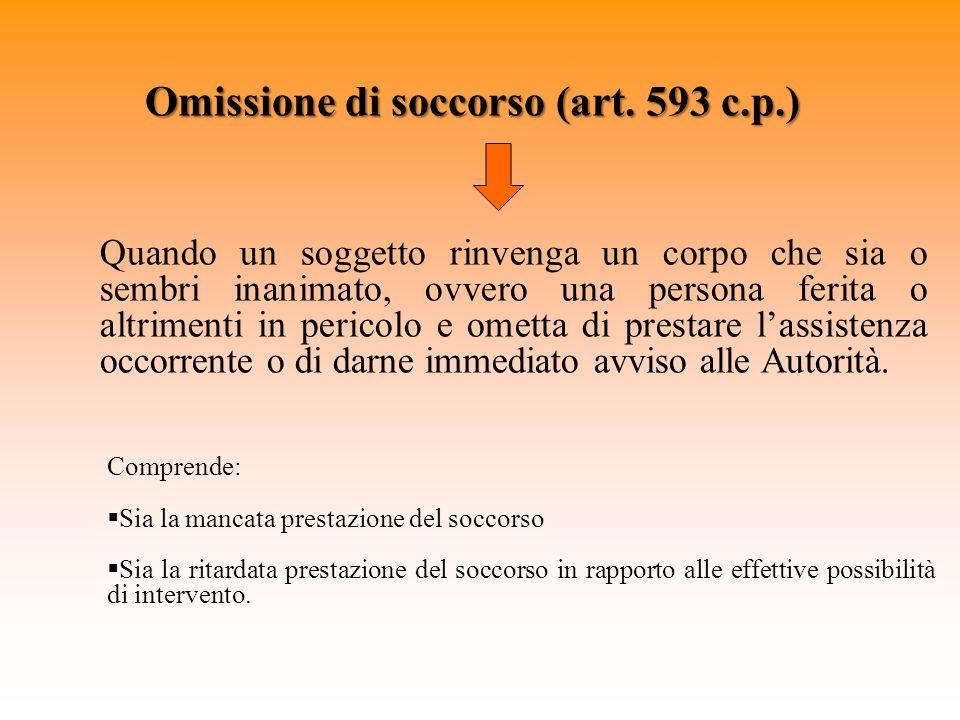 Omissione di soccorso (art. 593 c.p.) Quando un soggetto rinvenga un corpo che sia o sembri inanimato, ovvero una persona ferita o altrimenti in peric