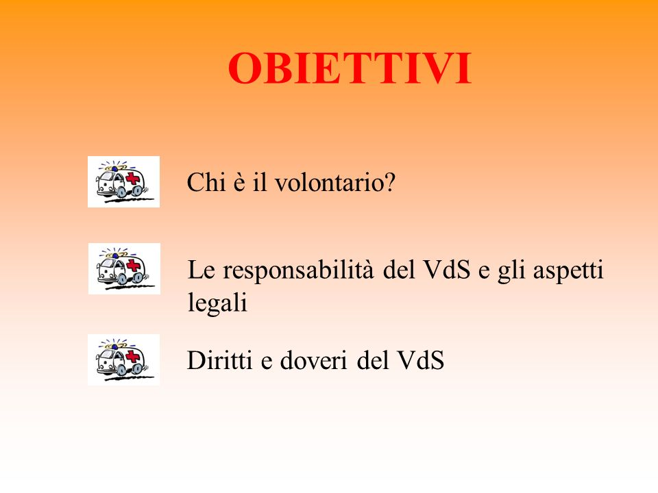 OBIETTIVI Chi è il volontario? Le responsabilità del VdS e gli aspetti legali Diritti e doveri del VdS