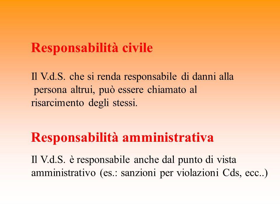 Responsabilità civile Il V.d.S. che si renda responsabile di danni alla persona altrui, può essere chiamato al risarcimento degli stessi. Responsabili