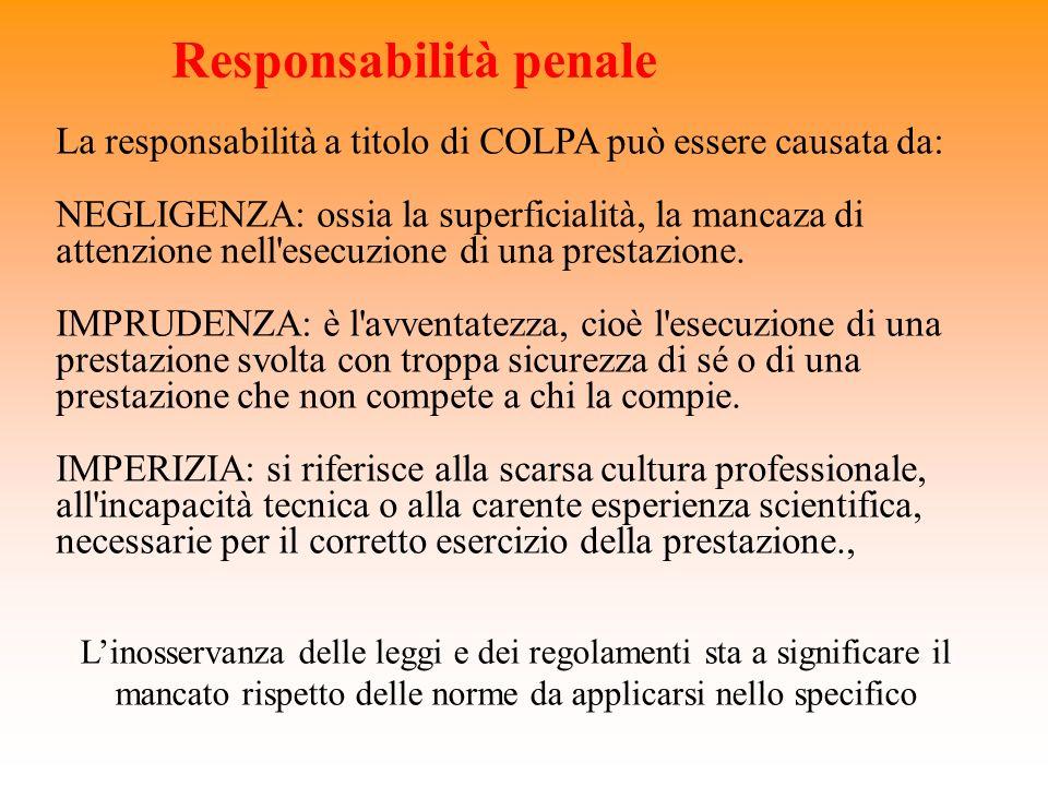 Responsabilità penale La responsabilità a titolo di COLPA può essere causata da: NEGLIGENZA: ossia la superficialità, la mancaza di attenzione nell'es