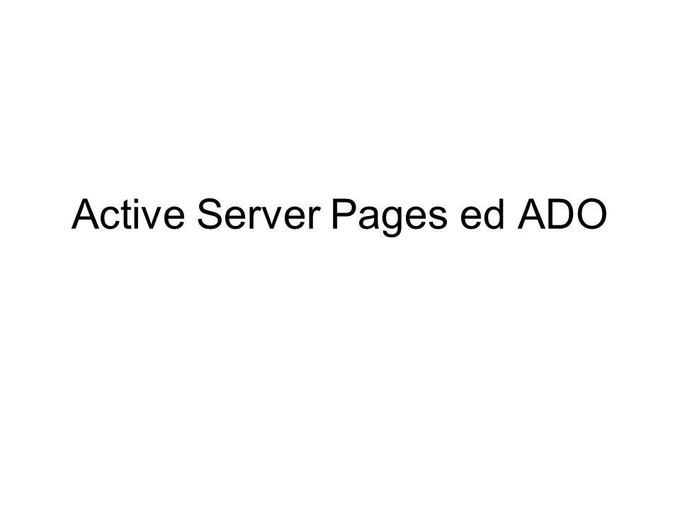 Scrivere ASP Le pagine ASP possono contenere codice HTML o XML Le parti del documento che racchiudono codice script vanno racchiuse tra i delimitatori Gli script vengono eseguiti sul lato server E possibile usare sia vbscript che javascript (in questo caso aggiungere in testa al documento: ) per default il server assume script in vbscript