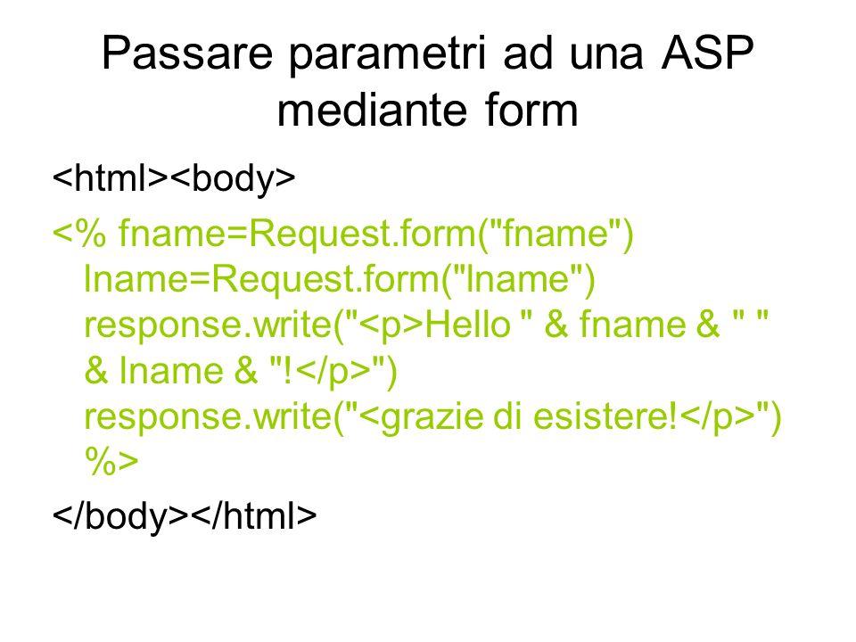 Passare parametri ad una ASP mediante form Hello & fname & & lname & .