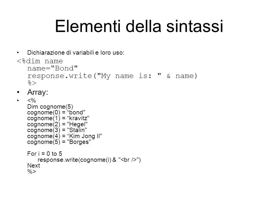 Elementi della sintassi Dichiarazione di variabili e loro uso: Array: ) Next %>