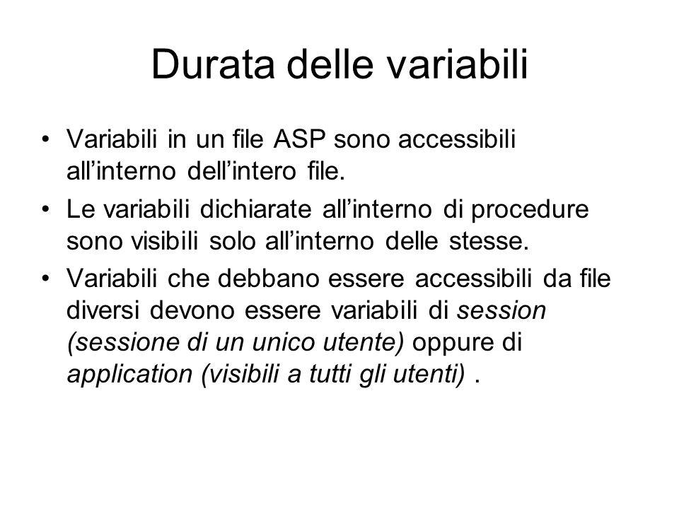 Durata delle variabili Variabili in un file ASP sono accessibili allinterno dellintero file.