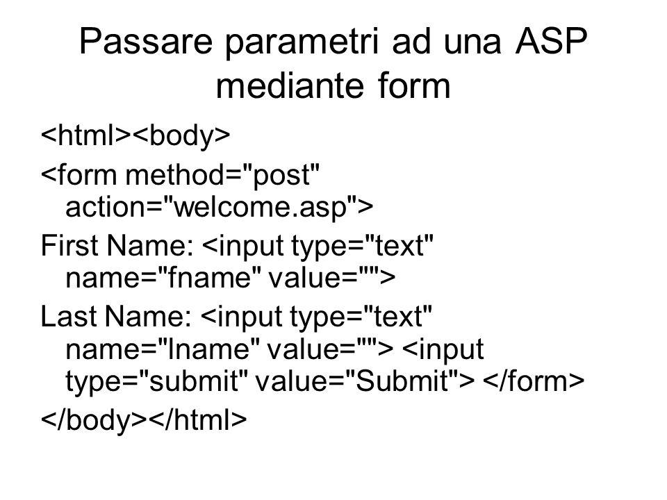 Passare parametri ad una ASP mediante form First Name: Last Name: