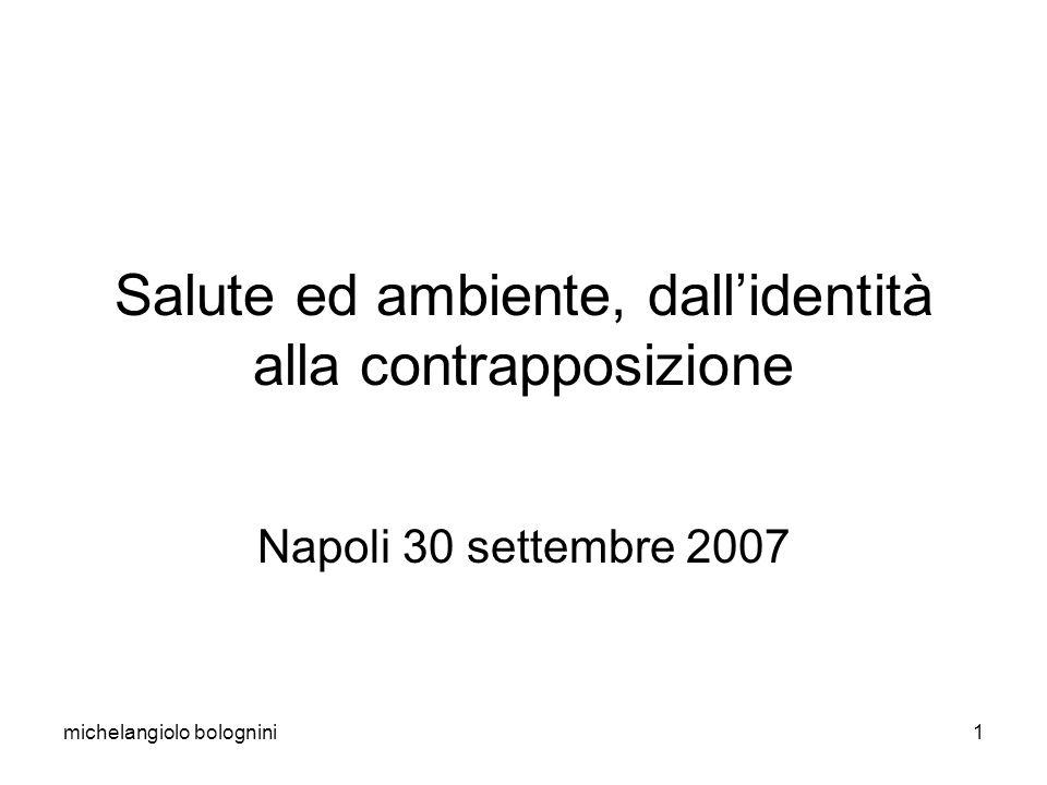 michelangiolo bolognini1 Salute ed ambiente, dallidentità alla contrapposizione Napoli 30 settembre 2007