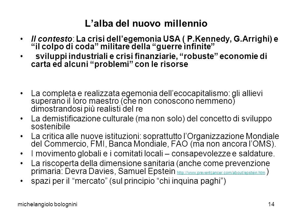 michelangiolo bolognini14 Lalba del nuovo millennio Il contesto: La crisi dellegemonia USA ( P.Kennedy, G.Arrighi) e il colpo di coda militare della g
