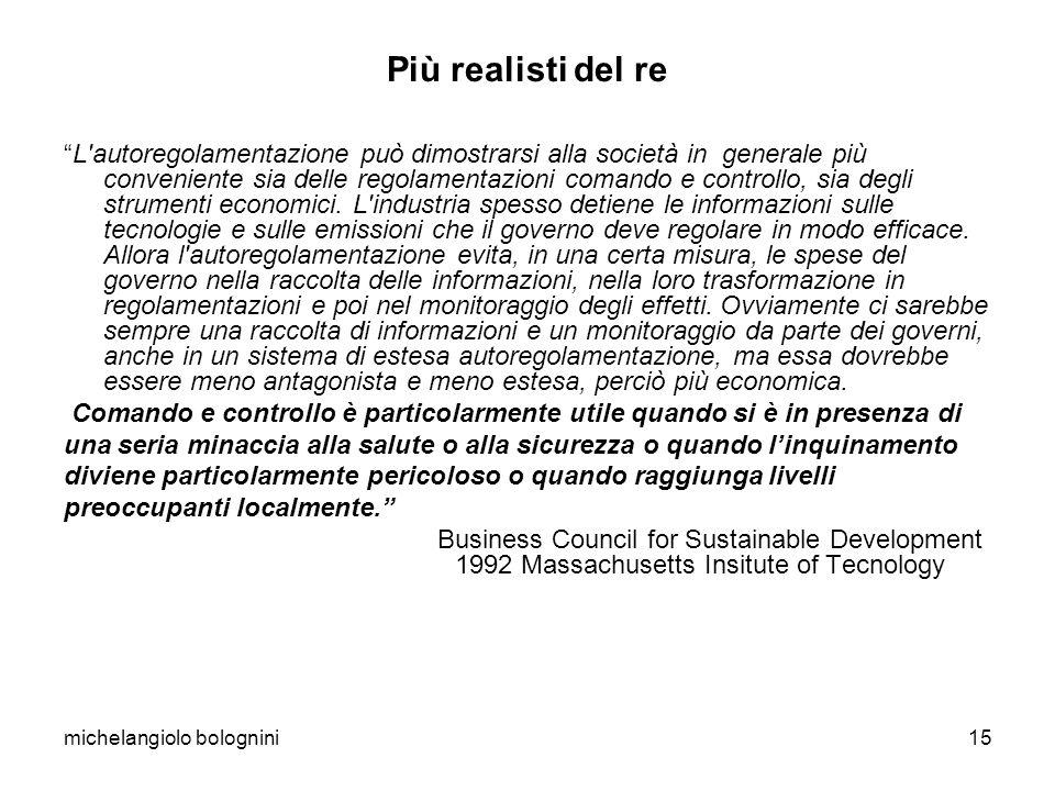 michelangiolo bolognini15 Più realisti del re L autoregolamentazione può dimostrarsi alla società in generale più conveniente sia delle regolamentazioni comando e controllo, sia degli strumenti economici.