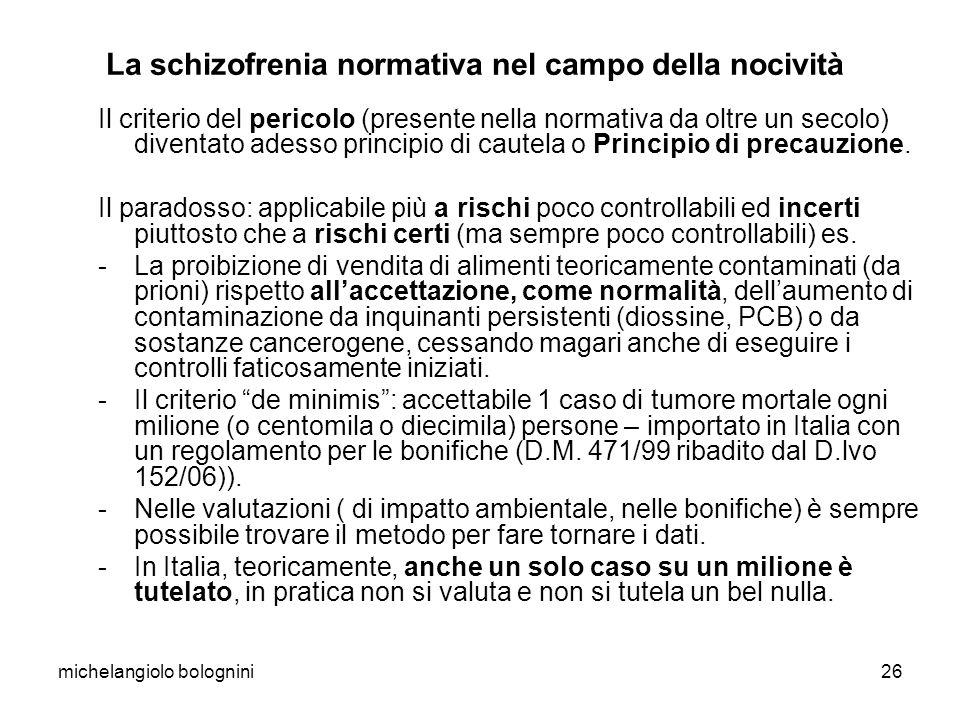 michelangiolo bolognini26 La schizofrenia normativa nel campo della nocività Il criterio del pericolo (presente nella normativa da oltre un secolo) diventato adesso principio di cautela o Principio di precauzione.
