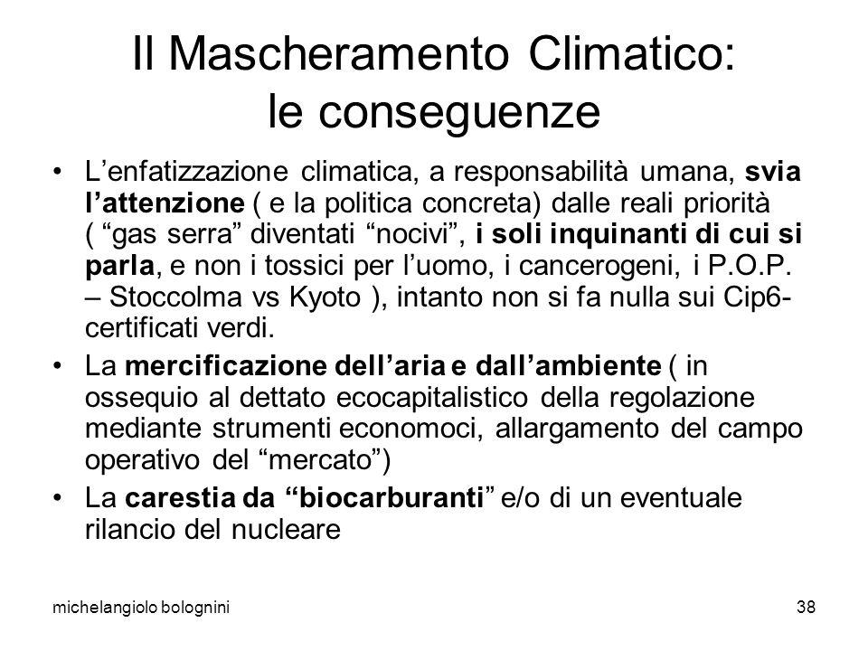 michelangiolo bolognini38 Il Mascheramento Climatico: le conseguenze Lenfatizzazione climatica, a responsabilità umana, svia lattenzione ( e la politi