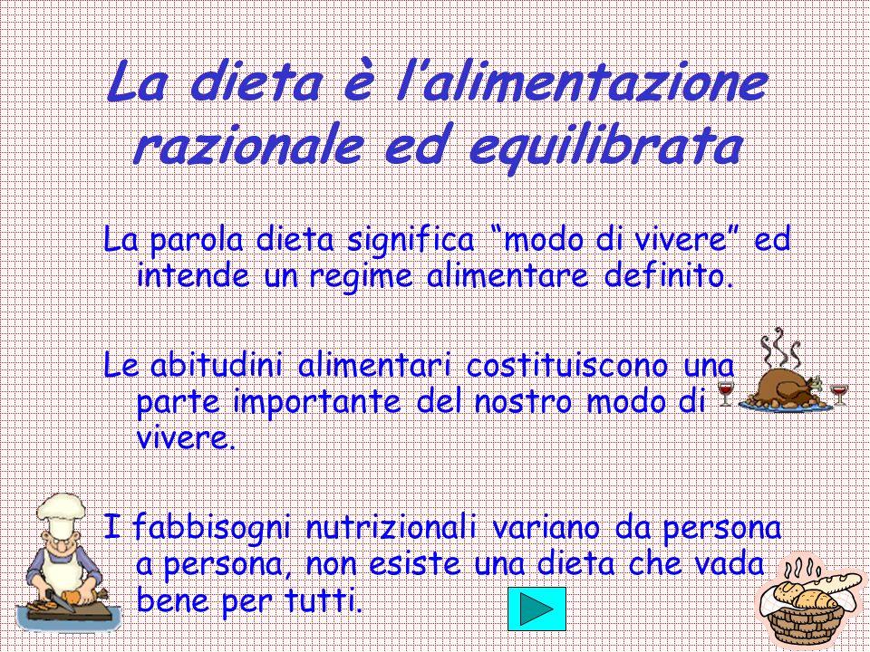 La dieta è lalimentazione razionale ed equilibrata La parola dieta significa modo di vivere ed intende un regime alimentare definito. Le abitudini ali