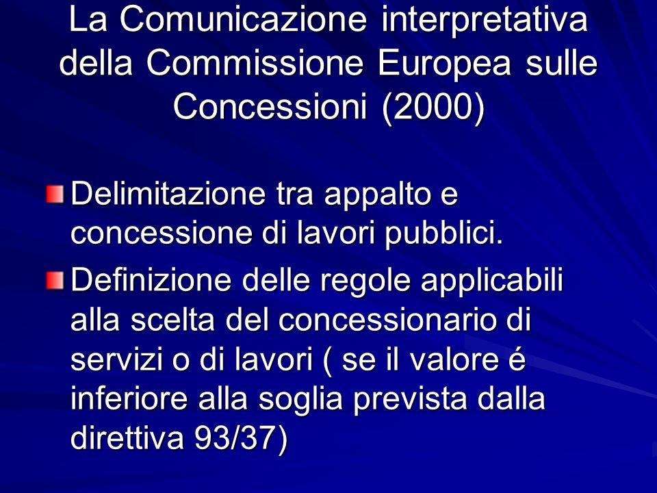 La Comunicazione interpretativa della Commissione Europea sulle Concessioni (2000) Delimitazione tra appalto e concessione di lavori pubblici. Definiz