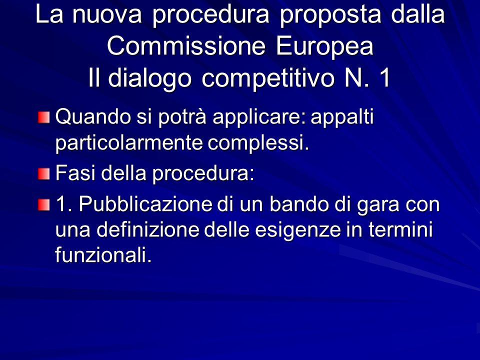 La nuova procedura proposta dalla Commissione Europea Il dialogo competitivo N. 1 Quando si potrà applicare: appalti particolarmente complessi. Fasi d