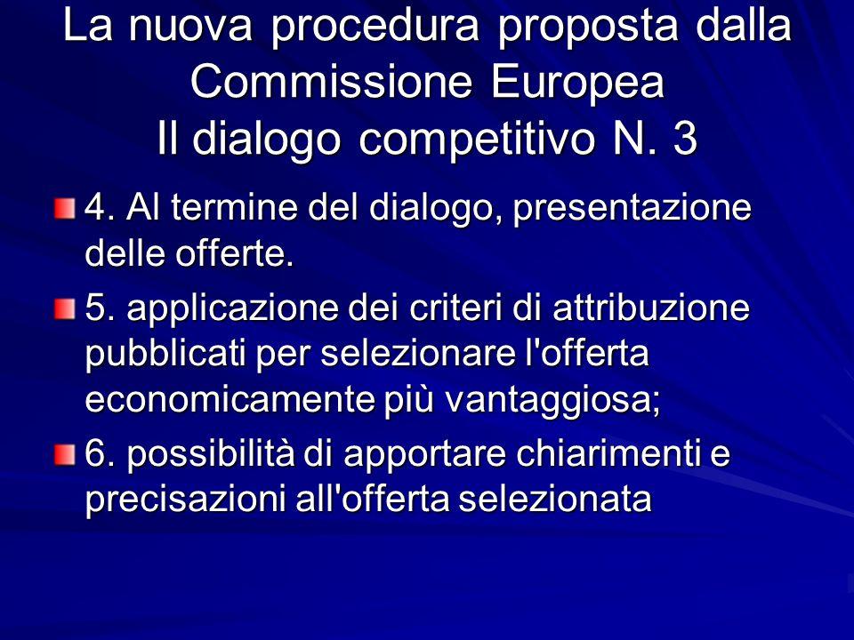La nuova procedura proposta dalla Commissione Europea Il dialogo competitivo N. 3 4. Al termine del dialogo, presentazione delle offerte. 5. applicazi