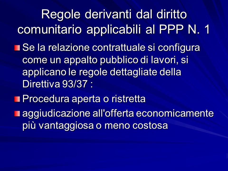 Regole derivanti dal diritto comunitario applicabili al PPP N. 1 Se la relazione contrattuale si configura come un appalto pubblico di lavori, si appl