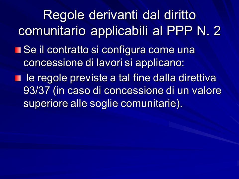 Regole derivanti dal diritto comunitario applicabili al PPP N. 2 Se il contratto si configura come una concessione di lavori si applicano: le regole p