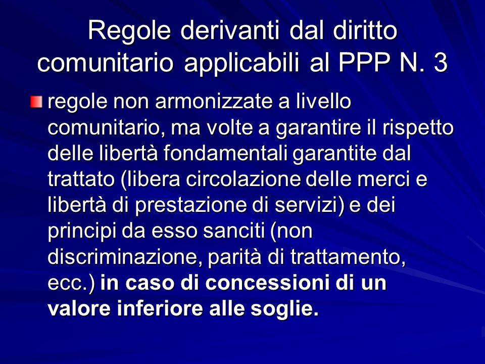 Regole derivanti dal diritto comunitario applicabili al PPP N. 3 regole non armonizzate a livello comunitario, ma volte a garantire il rispetto delle