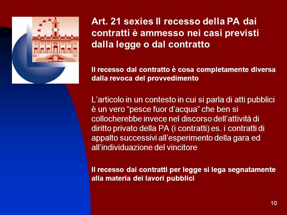 10 Art. 21 sexies Il recesso della PA dai contratti è ammesso nei casi previsti dalla legge o dal contratto Il recesso dal contratto è cosa completame