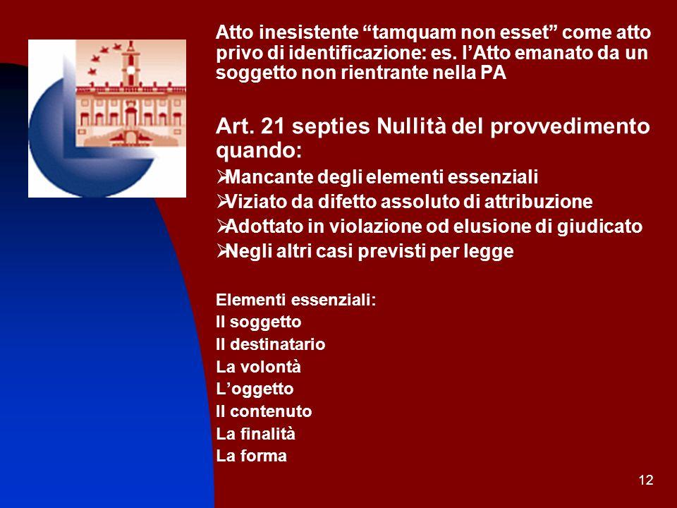 12 Atto inesistente tamquam non esset come atto privo di identificazione: es. lAtto emanato da un soggetto non rientrante nella PA Art. 21 septies Nul