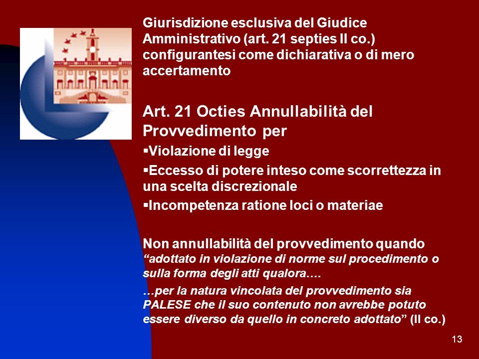 13 Giurisdizione esclusiva del Giudice Amministrativo (art. 21 septies II co.) configurantesi come dichiarativa o di mero accertamento Art. 21 Octies