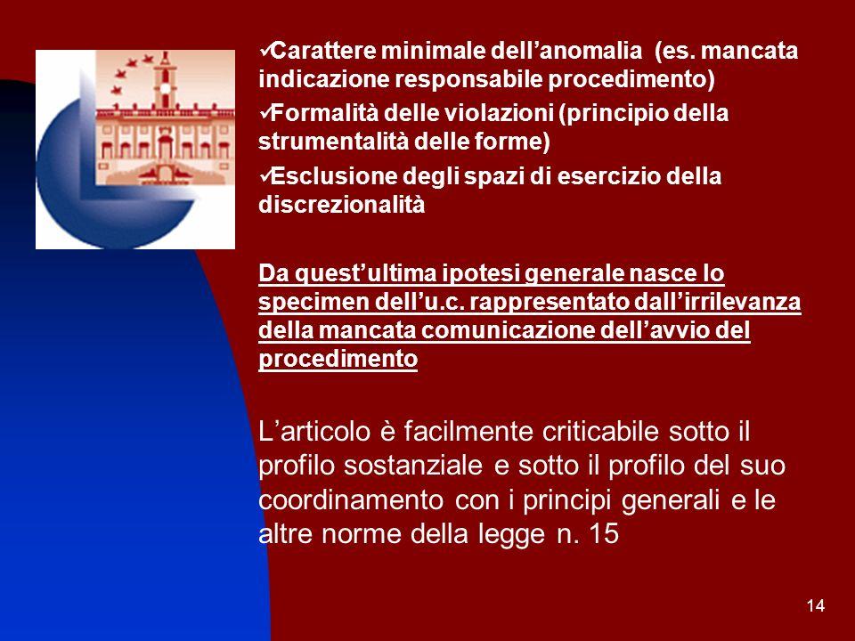 14 Carattere minimale dellanomalia (es. mancata indicazione responsabile procedimento) Formalità delle violazioni (principio della strumentalità delle