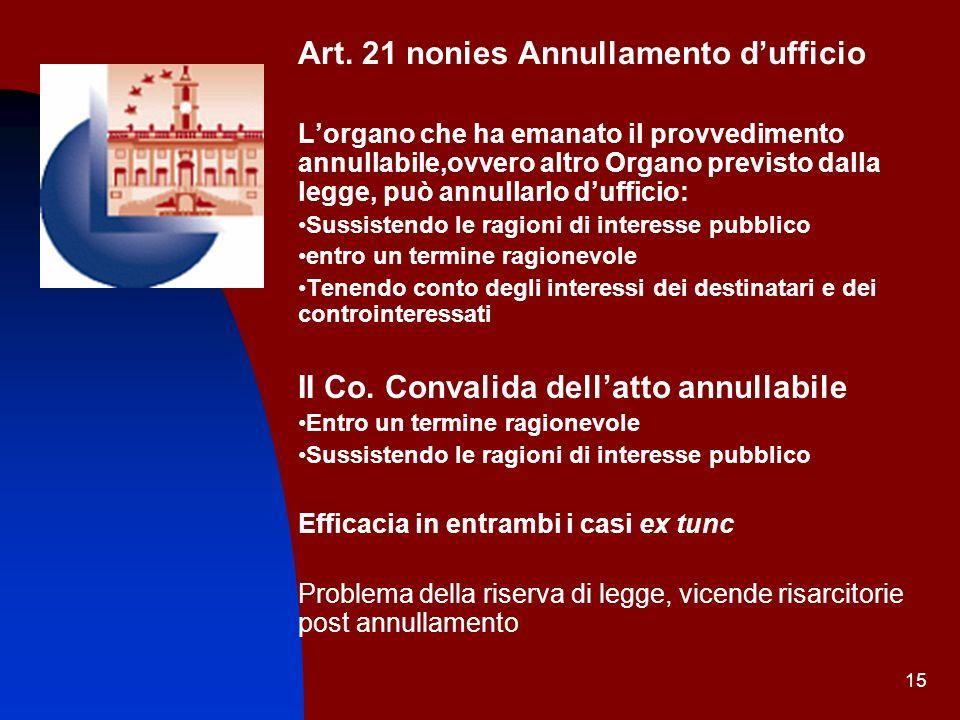 15 Art. 21 nonies Annullamento dufficio Lorgano che ha emanato il provvedimento annullabile,ovvero altro Organo previsto dalla legge, può annullarlo d