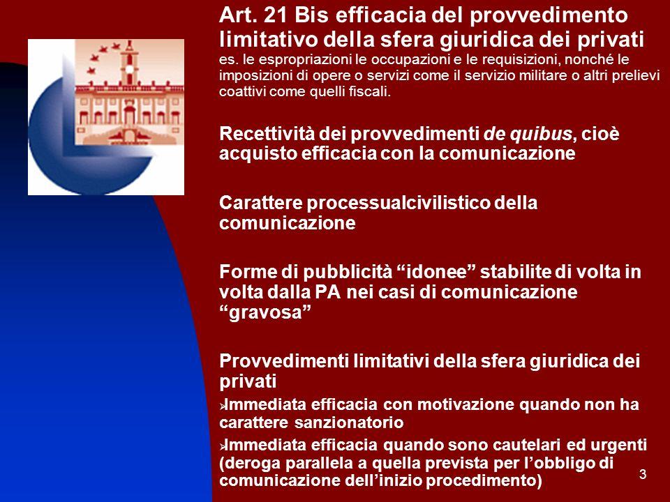 3 Art. 21 Bis efficacia del provvedimento limitativo della sfera giuridica dei privati es. le espropriazioni le occupazioni e le requisizioni, nonché