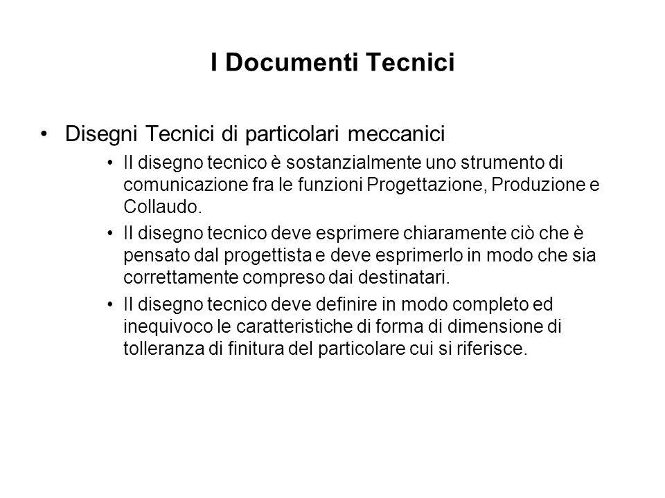 I Documenti Tecnici Disegni Tecnici di particolari meccanici Il disegno tecnico è sostanzialmente uno strumento di comunicazione fra le funzioni Proge