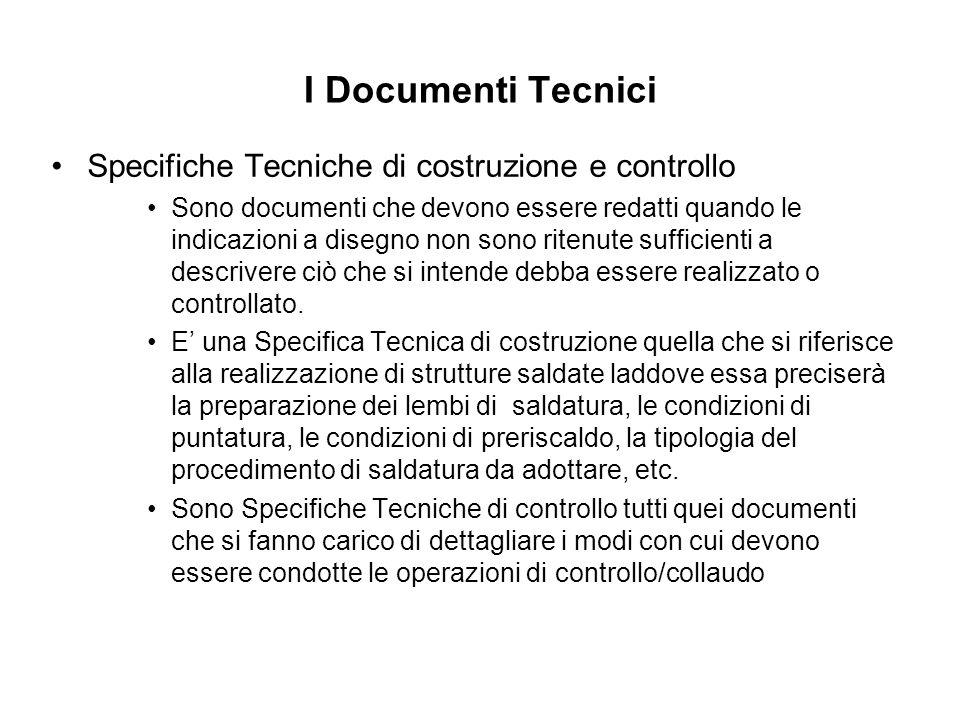 I Documenti Tecnici Specifiche Tecniche di costruzione e controllo Sono documenti che devono essere redatti quando le indicazioni a disegno non sono r