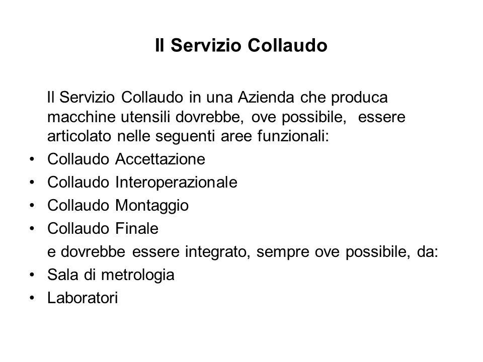 Il Servizio Collaudo Il Servizio Collaudo in una Azienda che produca macchine utensili dovrebbe, ove possibile, essere articolato nelle seguenti aree