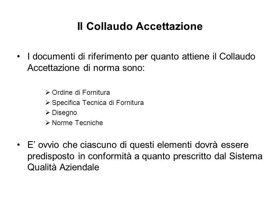 Il Collaudo Accettazione I documenti di riferimento per quanto attiene il Collaudo Accettazione di norma sono: Ordine di Fornitura Specifica Tecnica d