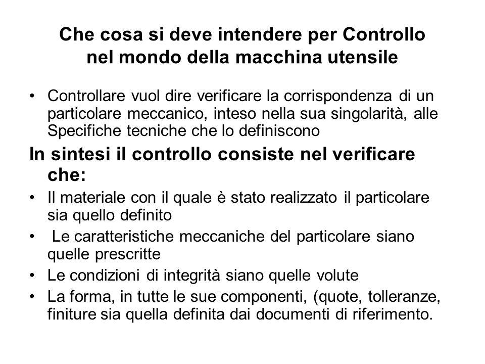 Che cosa si deve intendere per Controllo nel mondo della macchina utensile Controllare vuol dire verificare la corrispondenza di un particolare meccan