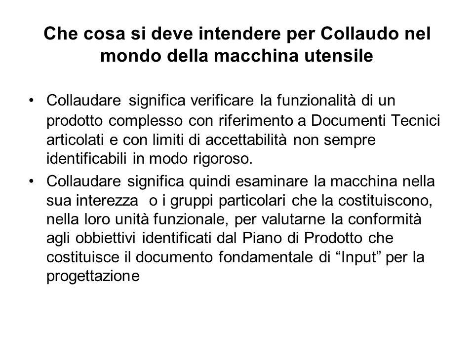Che cosa si deve intendere per Collaudo nel mondo della macchina utensile Collaudare significa verificare la funzionalità di un prodotto complesso con