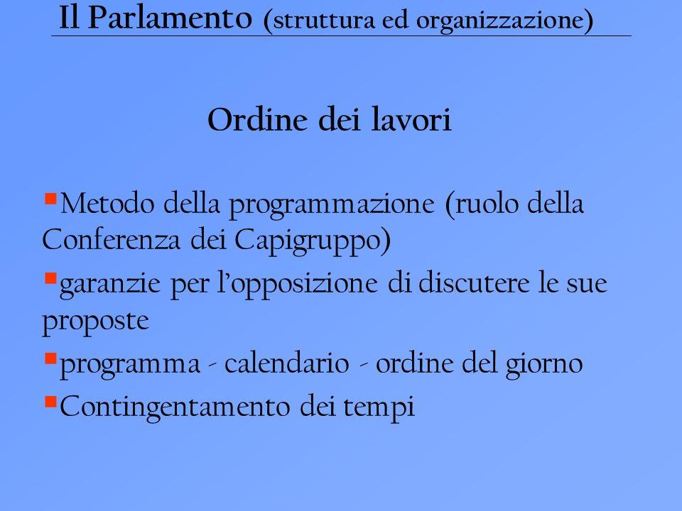 Il Parlamento (struttura ed organizzazione) Ordine dei lavori Metodo della programmazione (ruolo della Conferenza dei Capigruppo) garanzie per lopposizione di discutere le sue proposte programma - calendario - ordine del giorno Contingentamento dei tempi