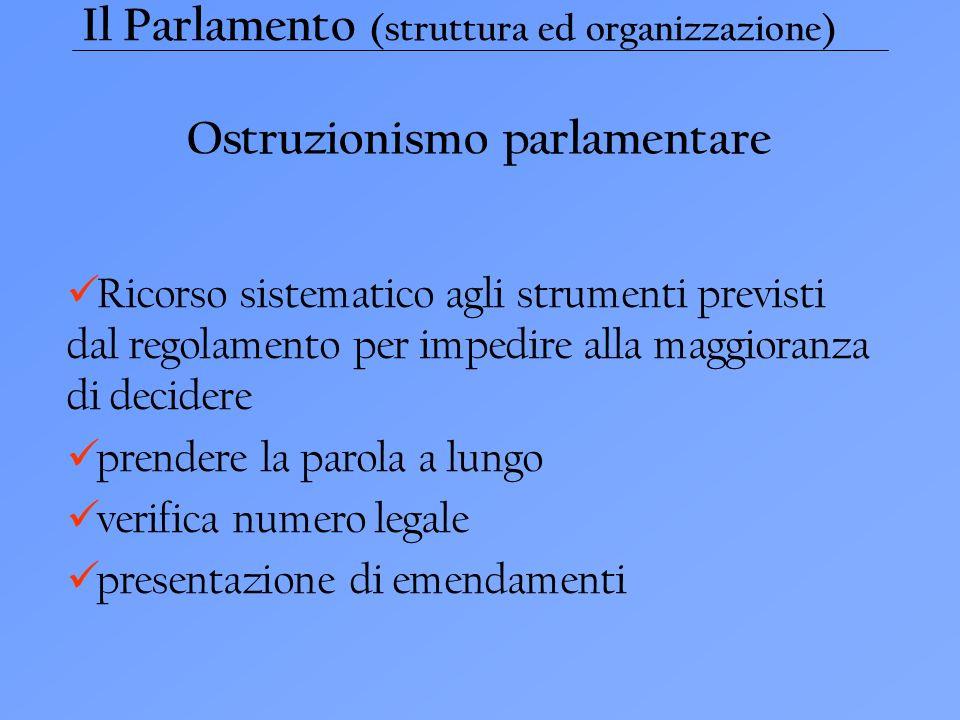 Il Parlamento (struttura ed organizzazione) Ostruzionismo parlamentare Ricorso sistematico agli strumenti previsti dal regolamento per impedire alla maggioranza di decidere prendere la parola a lungo verifica numero legale presentazione di emendamenti