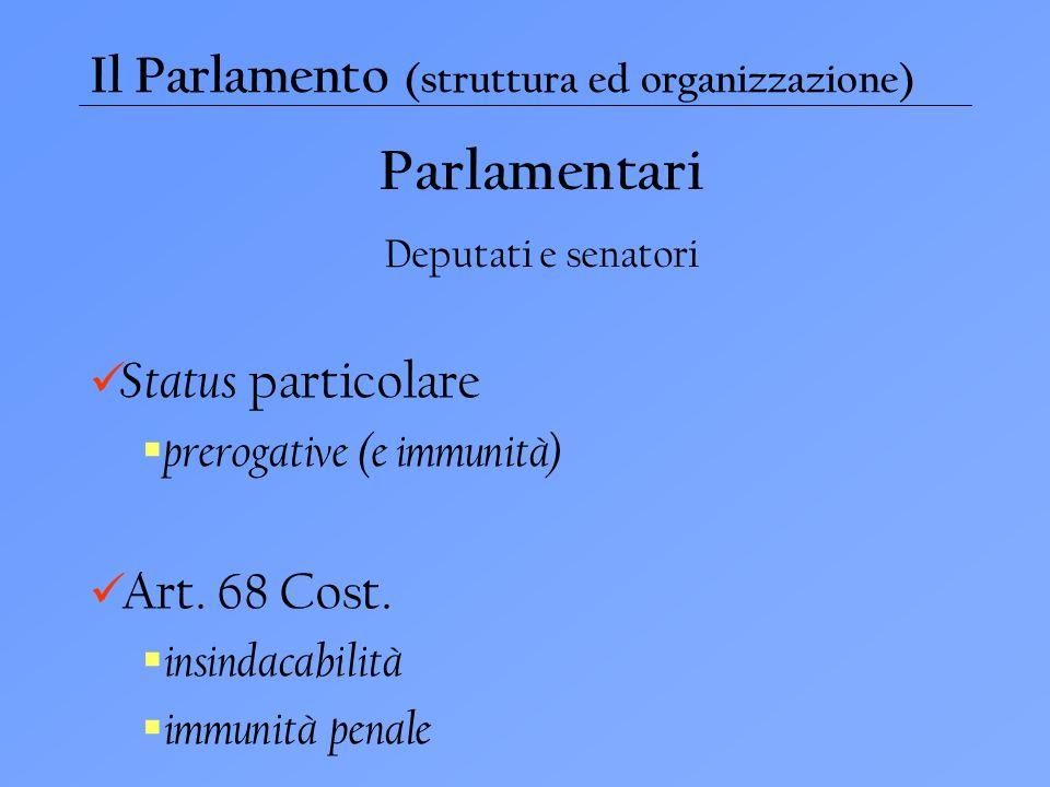 Il Parlamento (struttura ed organizzazione) Parlamentari Deputati e senatori Status particolare prerogative (e immunità) Art.