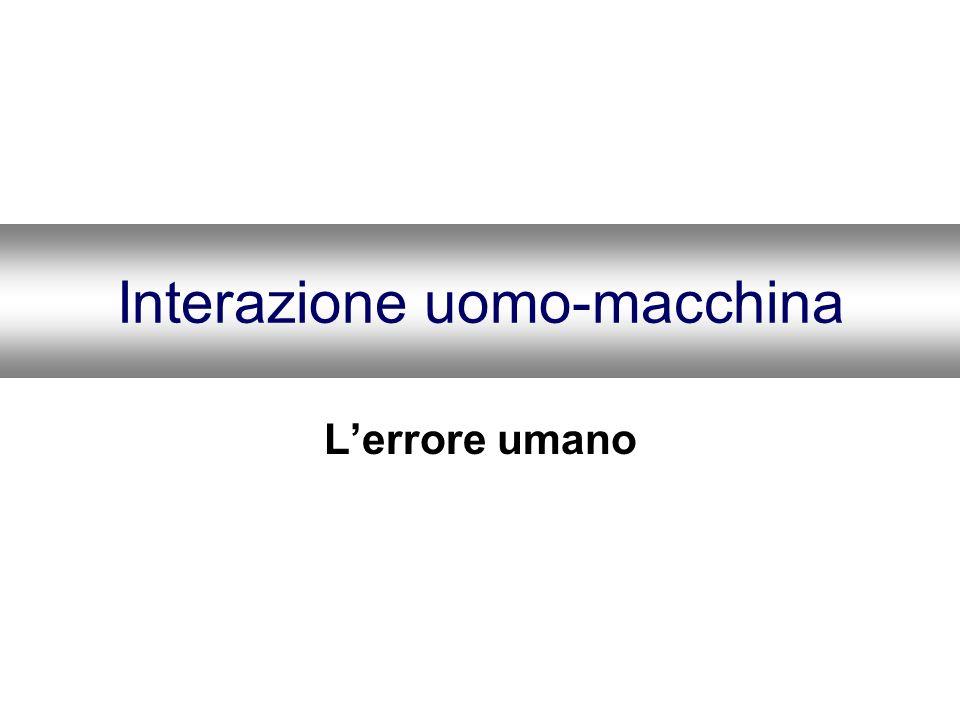 La Natura dellErrore Errori e prestazioni corrette sono le due facce della stessa medaglia velocità Automatismo--- perdita di controllo procedure potenti Spazio di lavoro limitato--- perdita da sovraccarico