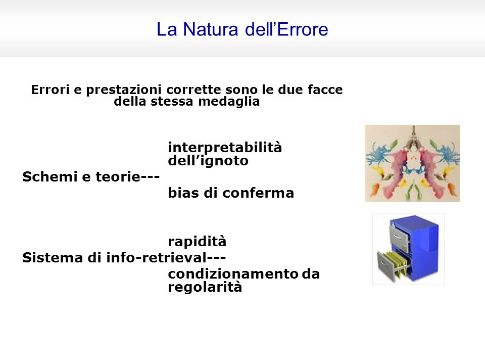 Errori e prestazioni corrette sono le due facce della stessa medaglia interpretabilità dellignoto Schemi e teorie--- bias di conferma rapidità Sistema